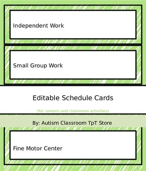 Editable (Autism Support) Schedule Cards for Centers & Class Activities - Green