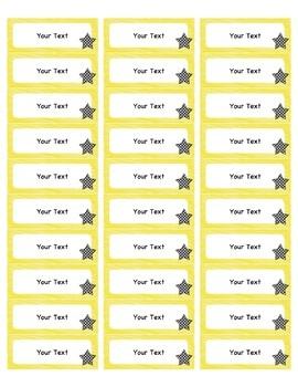 Editable Labels - Polka Dot Stars