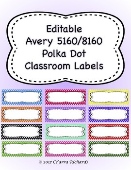 Editable Labels - Polka Dots