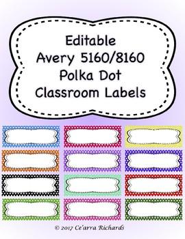 Editable Labels - Polka Dots