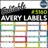 "Editable Avery Labels- #5160 (1"" x 2 5/8"")"