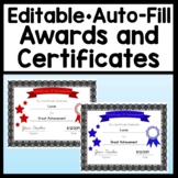 Editable Awards and Certificates {Auto-Fill!} {Certificate Template Editable}