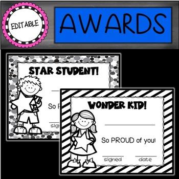 Editable Awards: Black and White Awards