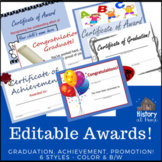 Editable Awards Certificates - 6 Styles (color and B/W) Gr