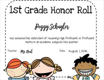 Editable Awards Certificates - Honor Roll, Perfect Attendance, Most Improved