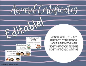 editable awards certificates honor roll perfect attendance most