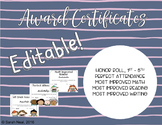Editable Awards Certificates - Honor Roll, Perfect Attenda