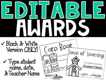 Editable Awards and Certificates ( End of the Year) BW Version