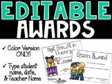 Editable Awards and Certificates ( End of the Year) COLOR Version