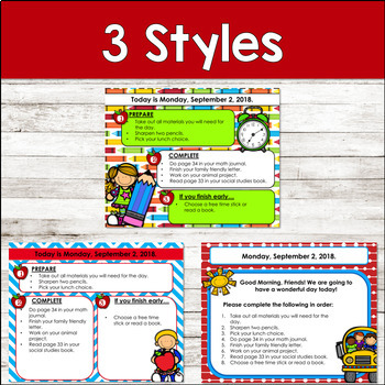Editable BACK TO SCHOOL Themed Morning Work PowerPoint Templates