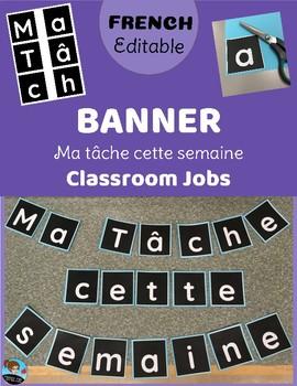 Editable BANNER - Classroom Jobs - FRENCH