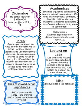 Editable BILINGUAL Newsletter