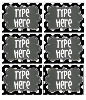 Editable BLACK Polka Dot Tags with Chalkboard Frame- 6 Classroom labels/tags