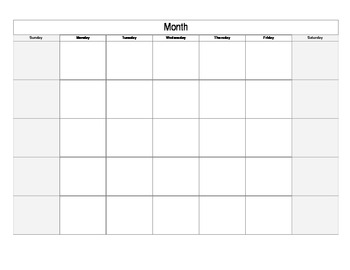 Editable Blank Calendar For Unit Planning By Fortheheartoflearning
