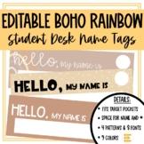 Boho Rainbow Classroom Decor Student Name Tags Editable