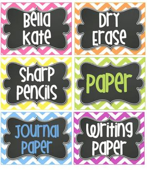 Editable BRIGHT Chevron Tags/ Labels with Chalkboard- 6 Classroom Labels