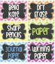Editable BRIGHT Chevron Tags/ Labels with Chalkboard- 6 Cl