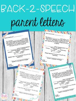 Editable Back 2 Speech Parent Letters