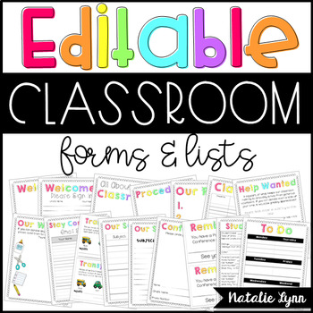 Editable Classroom Forms and Lists