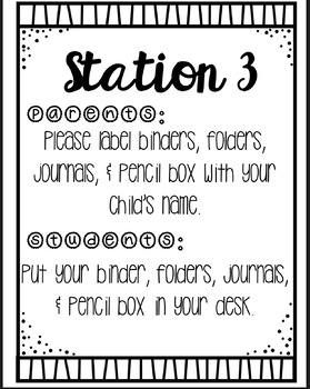 Editable Back To School Night Stations/Centers **FREEBIE!**