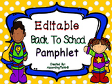 Editable Back To School Pamphlet