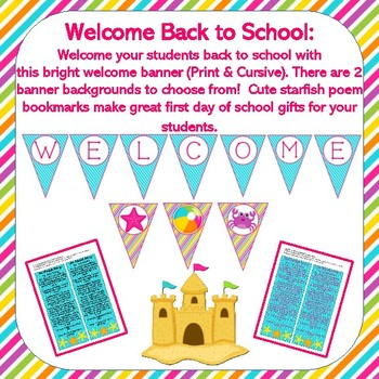 Editable Back to School BEACH BRIGHTS Decor Set {22 Resources, 276 Pages}