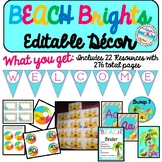 Editable Back to School BEACH BRIGHTS Decor Set {22 Resour