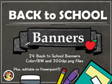 Back to School Banners Cliparts! Editable too!