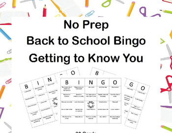 First Day-Editable Back to School Bingo-Getting to Know You