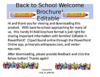 Editable Back to School Brochure (Super Hero Themed)