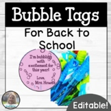 Editable Back to School Bubble Gift Tag