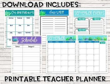 Editable Back to School Bundle (Succulent and Shiplap)
