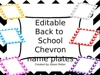 Editable Back to School Chevron Name Plates