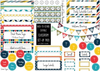 Editable Back-to-School Classroom Set-Up Pack
