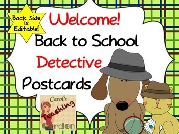 Editable Back to School Detective Postcards