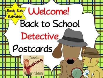 Editable Back to School Detective Postcards