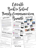 Editable Back to School Family Communication Bundle