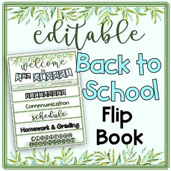 Editable Back to School Flip Book