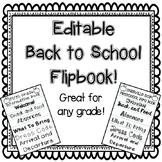 Editable Back to School Flipbook