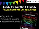 Editable Back to School Flipbook - Parent Handbook for Open House!