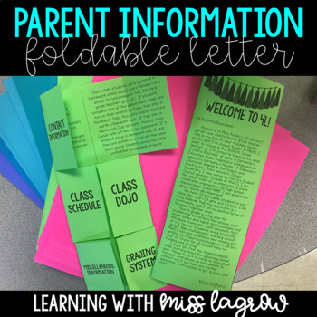 Editable Back to School Foldable Parent / Family Letter Information Sheet