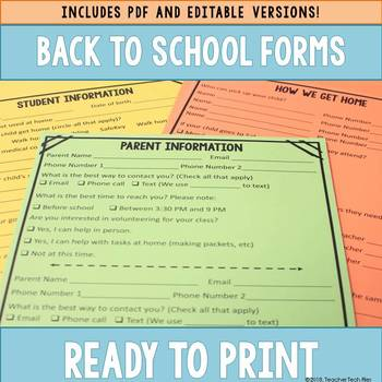 Editable Back to School Forms (PDF Version Also Included)