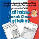 """Editable """"Back to School"""" French Class Syllabus/Handout"""