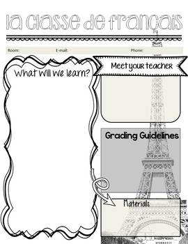 "Editable ""Back to School"" French Class Syllabus/Handout"