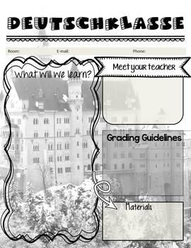 "Editable ""Back to School"" German Class Syllabus/Handout"
