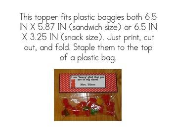 Editable Back to School Gummy Bear Treat Bag Toppers
