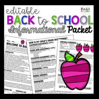 Editable Back to School Informational Packet