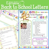 Editable Back to School Letters and Forms (Preschool, Kind