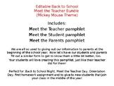 Editable Back to School/ Meet the Teacher (Mickey Theme)