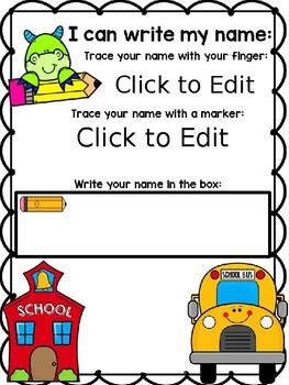 Editable Back to School Name Mats